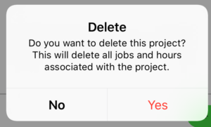 Delete Project warning alert